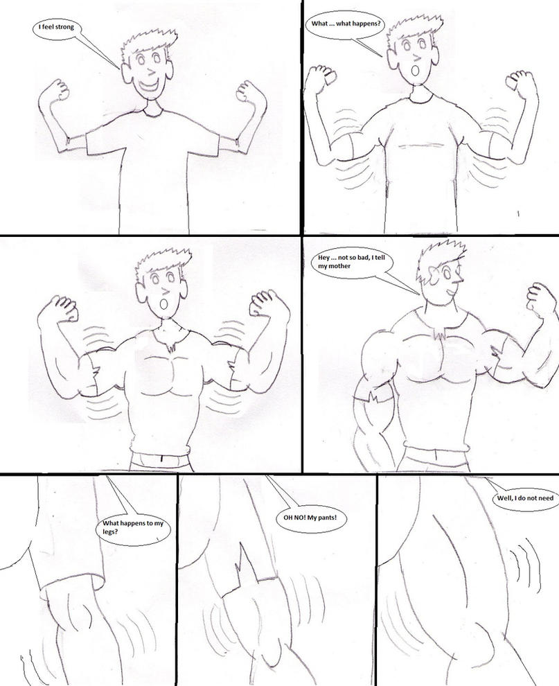 Comic2: muscle growth by ashpoke