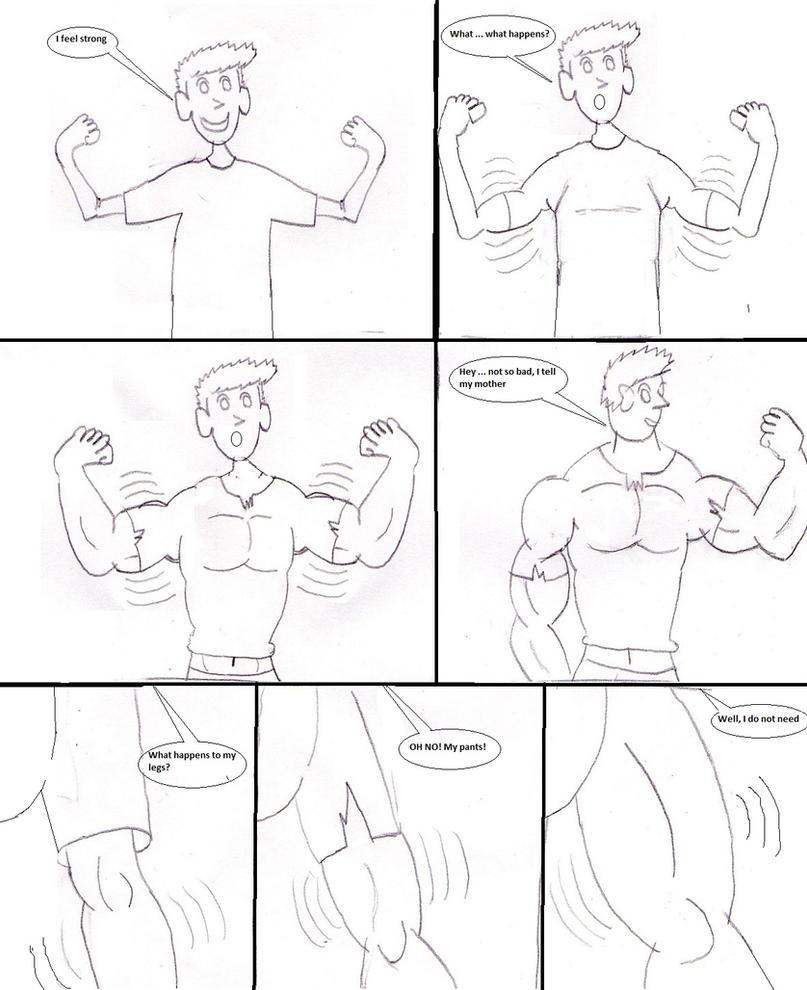 Comic2: muscle growth by ashpoke