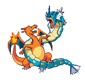 Charizard vs Gyarados Pixel by gushatesyou
