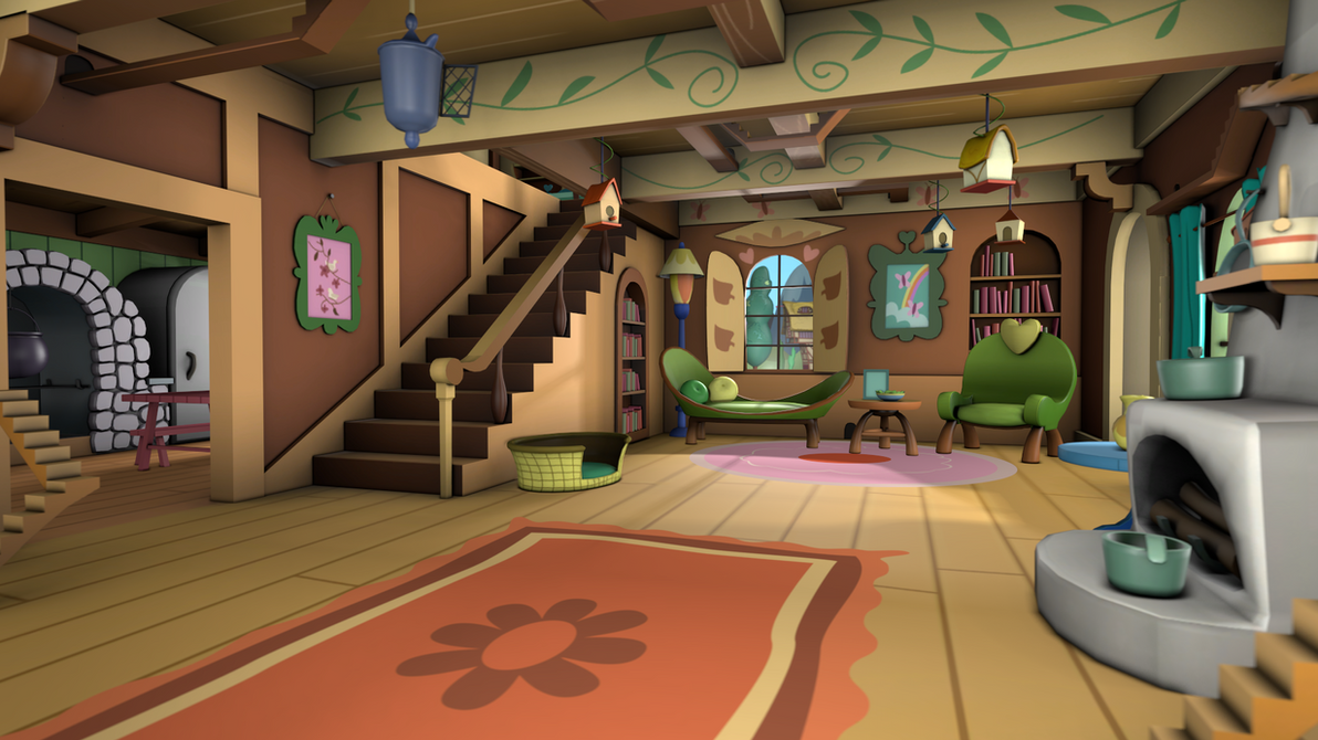 Fluttershy's Cottage - Living Room (back) by discopears