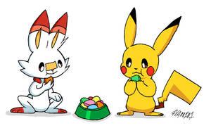 Pikachu and Scorbunny Eat Macarons