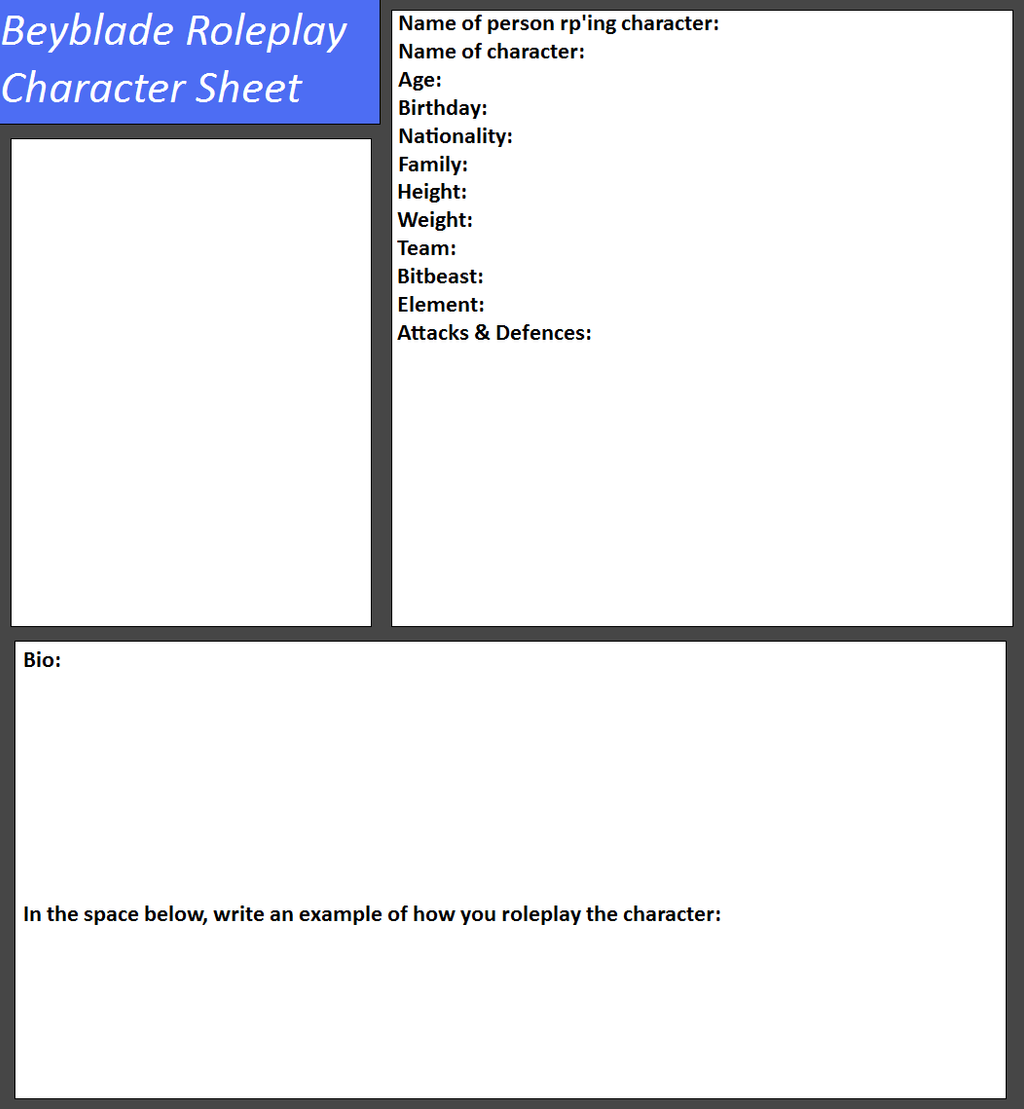 Beyblad roleplay character sheet by tifafenrir09 on deviantart for Rp templates