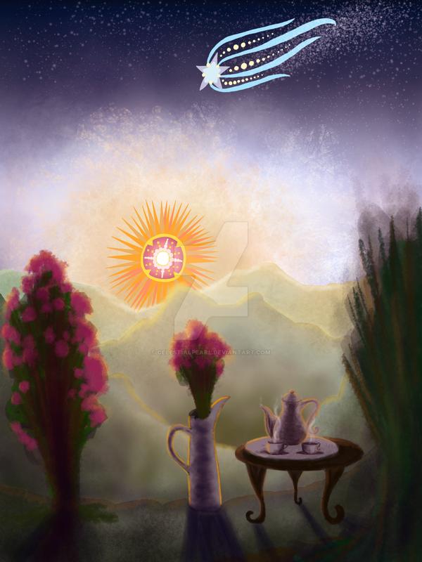 Teaset and Rosebush by CelestialPearl