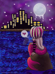 Little Mermaid Watching The City At Night