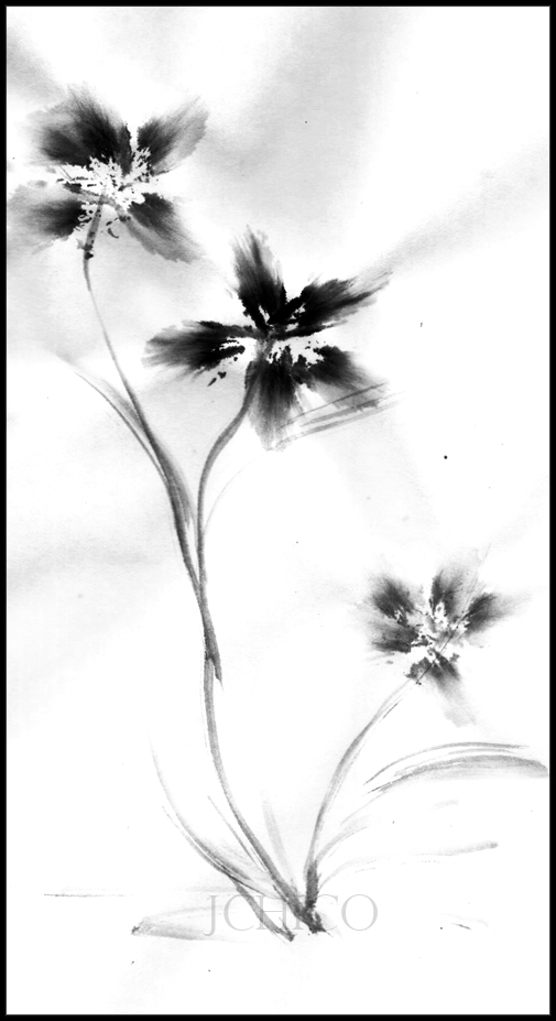 Japanese Flower Ink Drawing By JChico