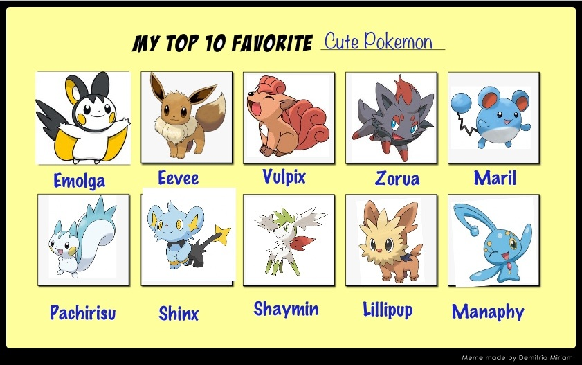 My top ten favourate cute pokemon by alucardserasfangirl - The most adorable pokemon ...