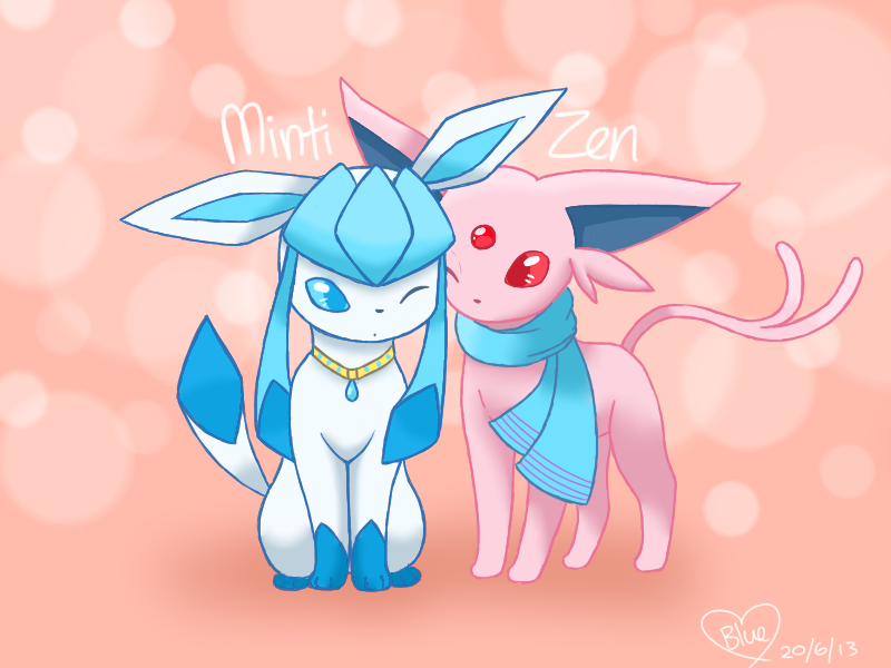 Request: OC: Minti the Glaceon and Espeon Zen by Bluekiss131