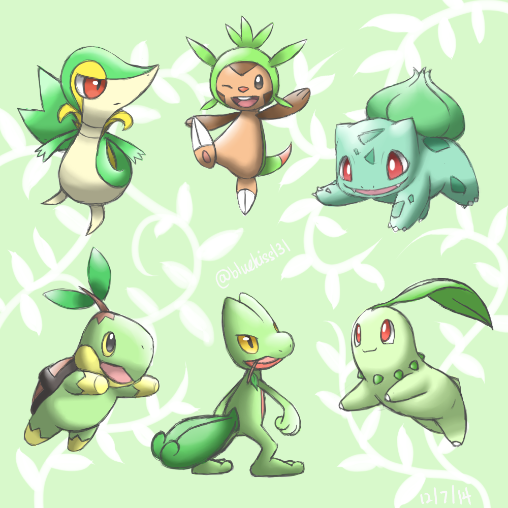 Grass-Type Starters by Bluekiss131