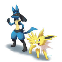 Lucario and Jolteon by BluuKiss