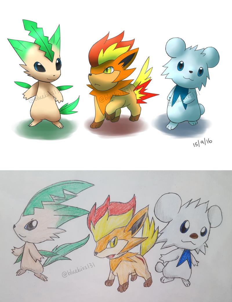 Fakemon: Starter Trio by BluuKiss