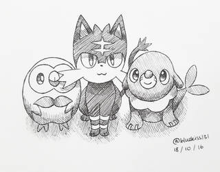 Inktober 2016: Day 18 - Sun and Moon Starters by BluuKiss