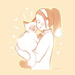 Cat And Girl in Sweater