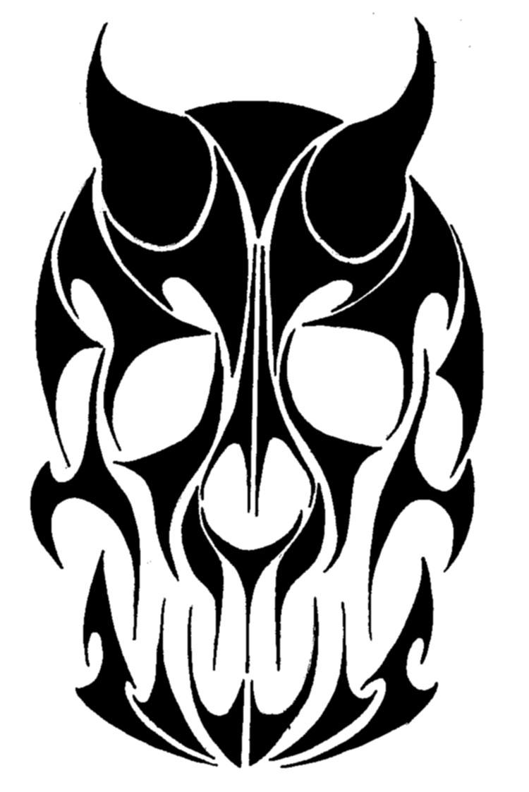 It is a photo of Playful Tribal Skull Drawing