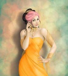 Pink Hair, Orange Dress by CatAstropheBoxes