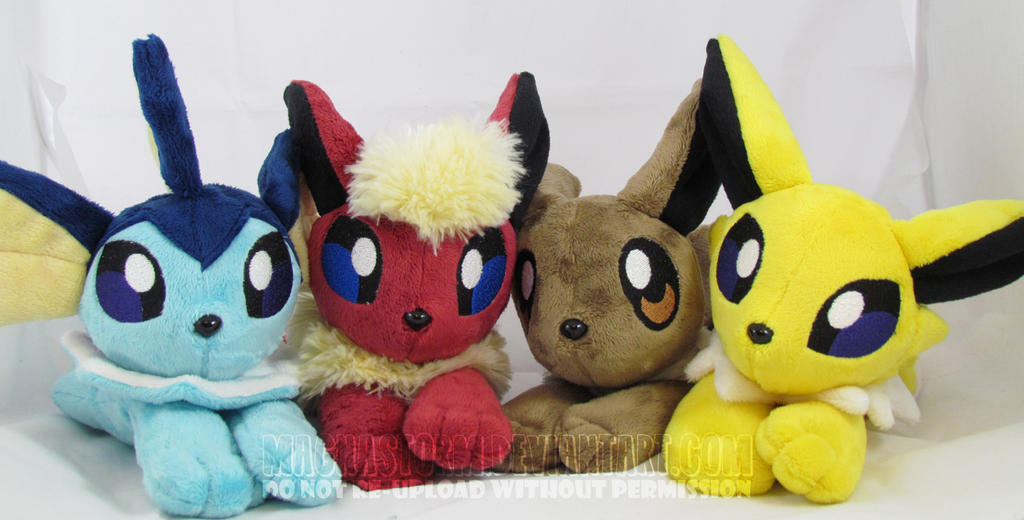 Floppy eevee+evolutions by MagnaStorm