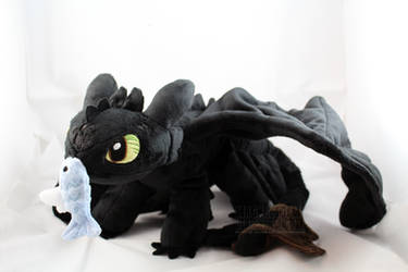 Toothless with fish by MagnaStorm