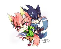 Commission Chibi : Kaoru and Kazuo by Kanomatsu