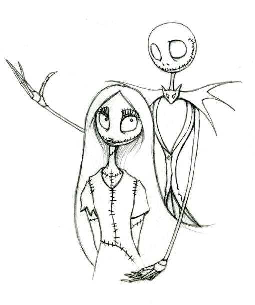 how to draw jack and sally together