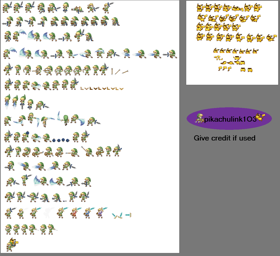 Toon link and pikachu sprite sheet - 361.2KB
