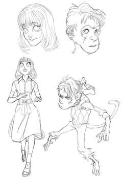 Pretty girl and Monkey boy