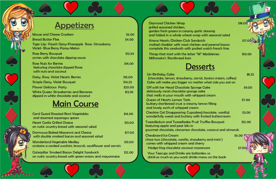 mad hatter menu