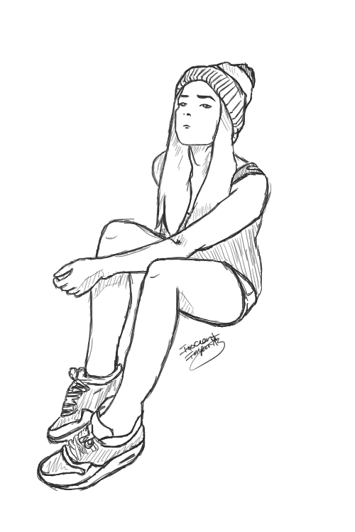 Line Drawing Girl : Beanie girl drawing