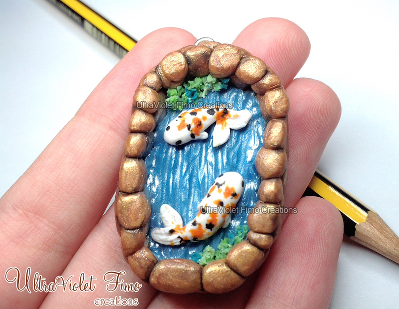 Polymer clay koi fish in a gold lake by for Clay koi fish
