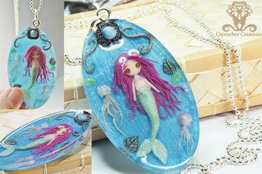 Polymer clay Mermaid and Jellyfish