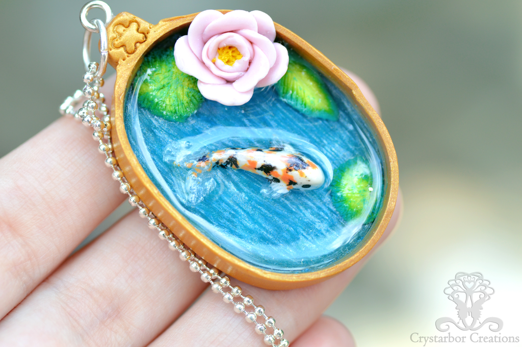 Koi fish pond handmade pendant polymer clay resin by for Resin koi fish