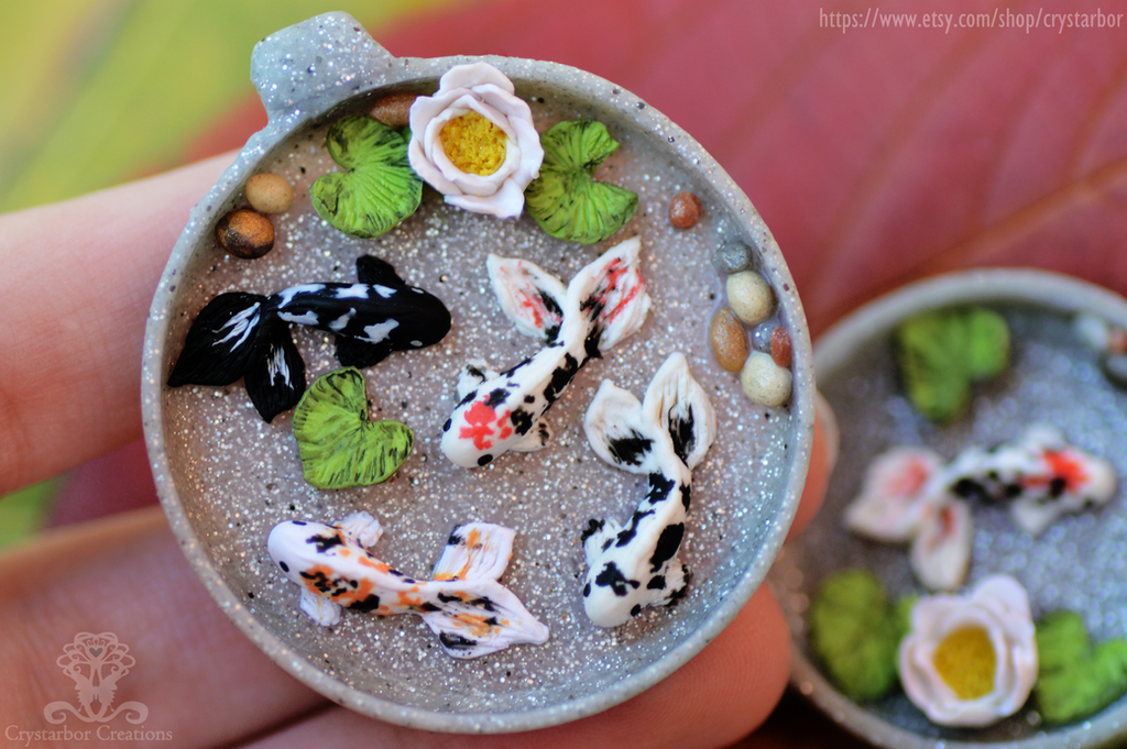 Wip koi fish pond resin pendant polymer clay by crystarbor for Coy fish pond designs