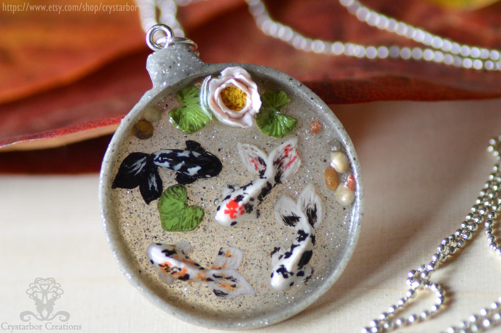 Japan koi fish necklace resin and polymer clay by for Resin koi fish
