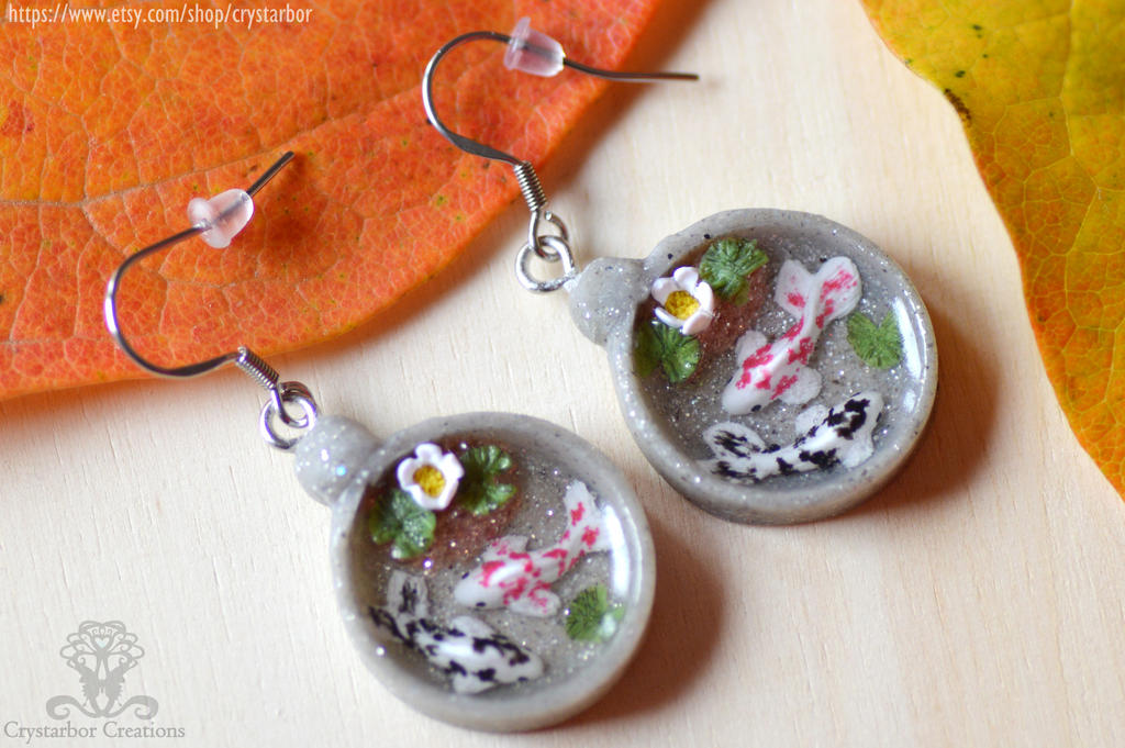Japan koi fish earrings resin and polymer clay by for Resin koi fish