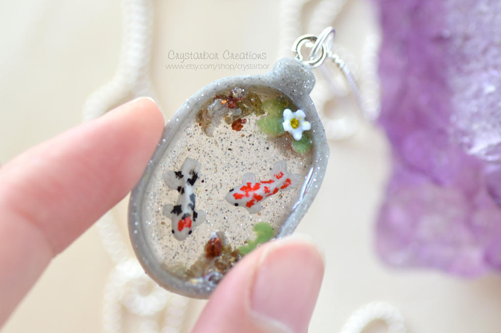 Japan koi fish necklace (Polymer Clay) by Crystarbor