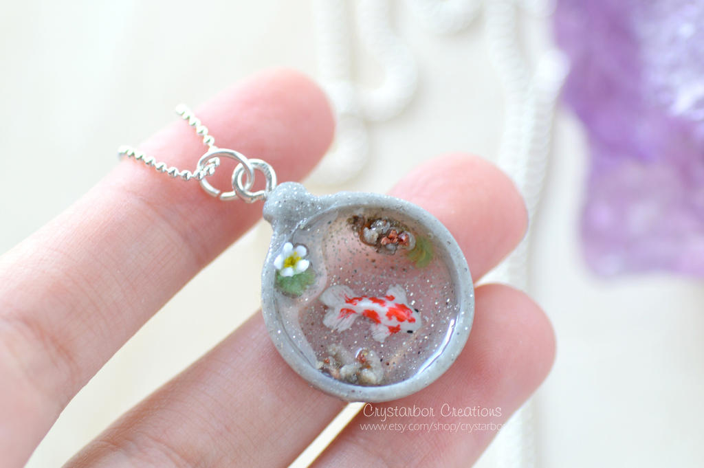 Japan koi fish necklace polymer clay by crystarbor on for Clay fish pond