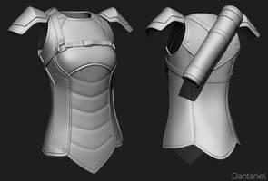 Female hunter WIP 2 - Leather torso armor by Dante-mL