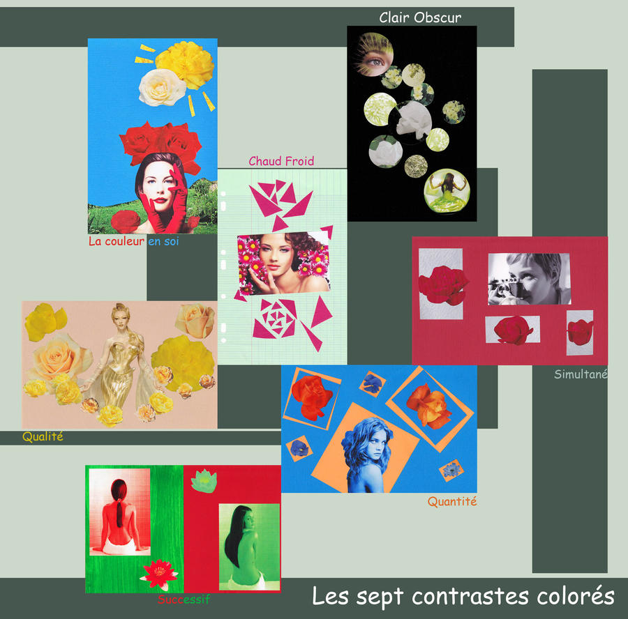 illustration des 7 contrastes colorés