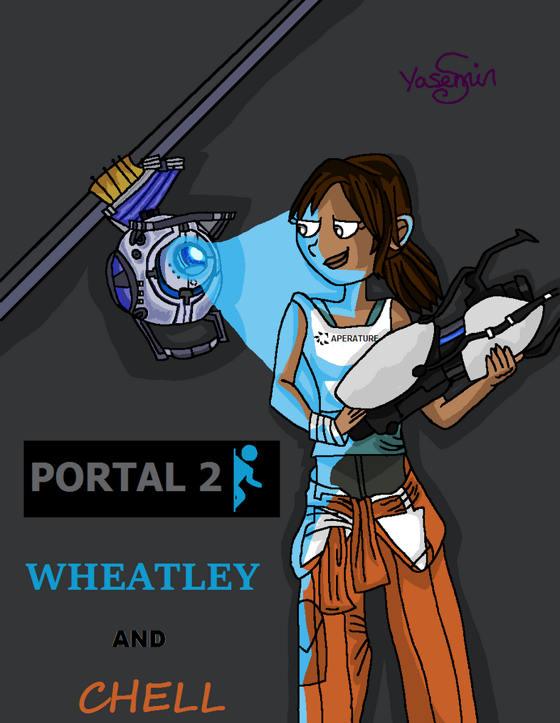 Portal 2- Wheatley and Chell by mihane100