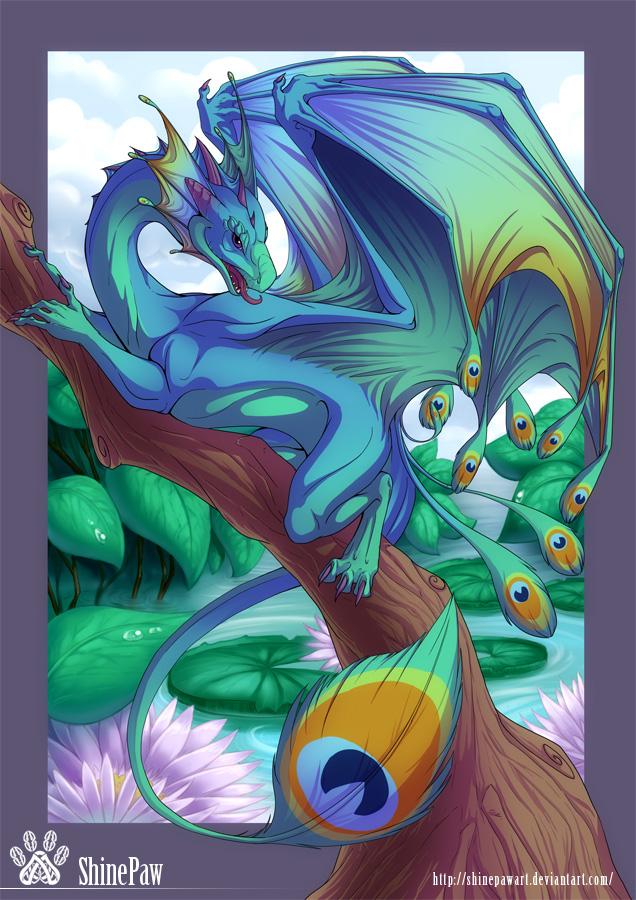 Peacock dragon by ShinePawArt on DeviantArt