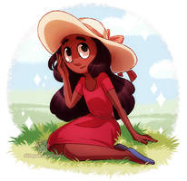 Connie in red dress