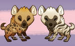 Spotted and striped hyena chibi