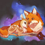 Fox and fawn - tattoo commission
