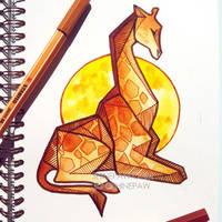 Giraffe - angular watercolor painting by ShinePawArt