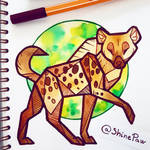 Spotted hyena - angular watercolor painting