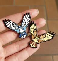 Brown and White Owl enamel pins! by ShinePawArt