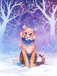 Tiger in Snow by ShinePawArt