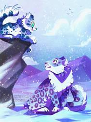 Snow Leopard Family by ShinePawArt
