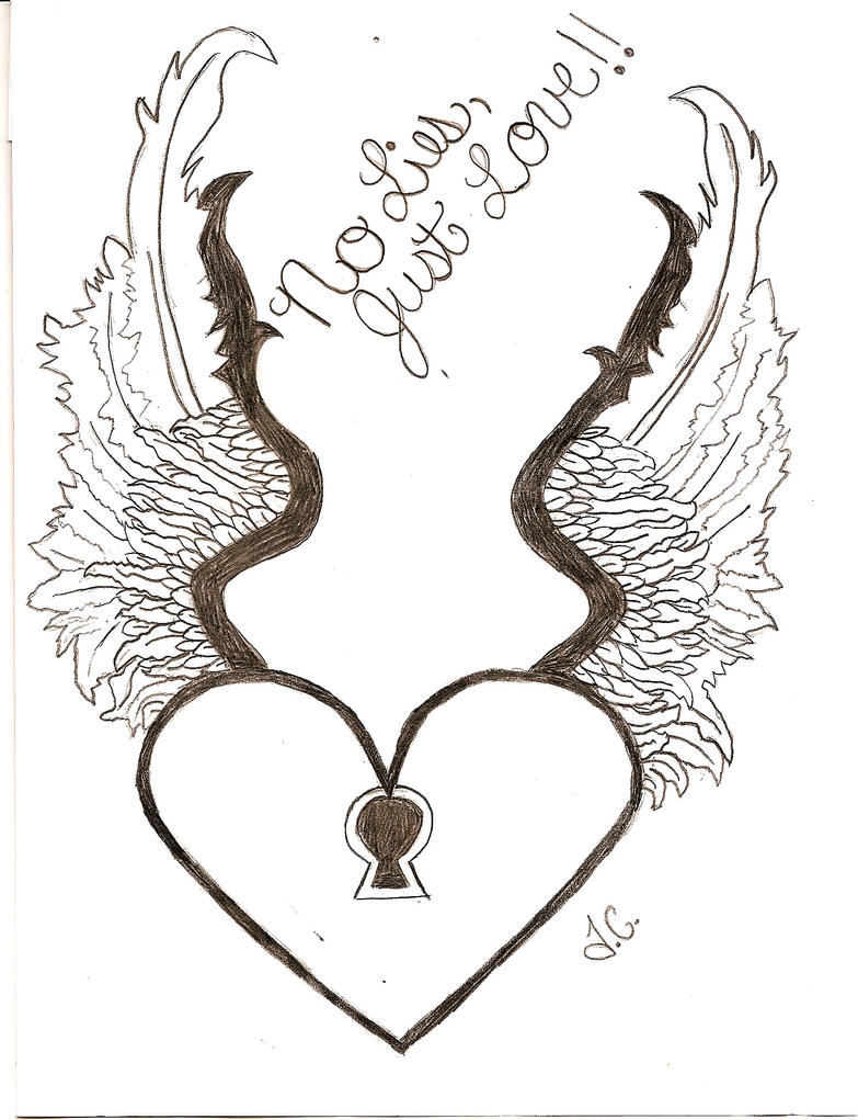 Heart With Wings Drawing By Me - 146.0KB