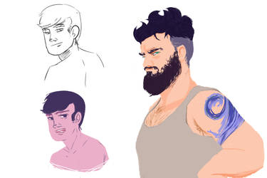 (wip) Dude with tats and some other guy