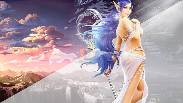 Wallpaper - 5120x2880 (Girl with Blue Hair)