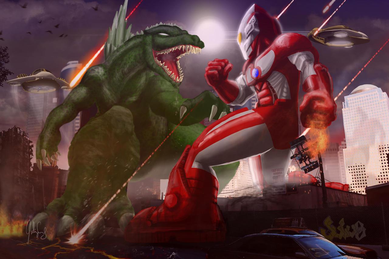 Godzilla vs. Ultraman Round 2 by manguy12345 on DeviantArt  Godzilla vs. Ul...